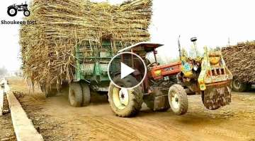 Fiat 640 Tractor Pulling The Heavy Load Of 70,000 Kg Sugarcane Double Axle Trailer In Sugar Mill