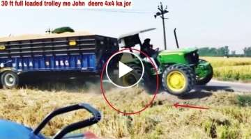 John deere 4x4 tractor with 30 ft full loaded trolley and modified sonalika new holland tractor