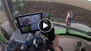 Fendt 1050 *in cab* working down organic mustard