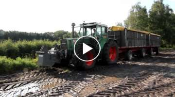 Fendt 615 pulls a train from the field
