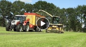 Grass chopping 2020 Old skool with New Holland FX 35 and Steyr in Vilsteren