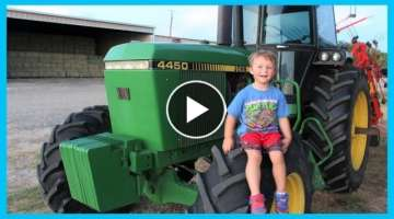 Mu Son working on Tractors the farm | How to make hay